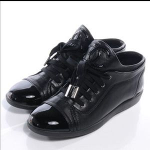 100% AUTHENTIC CHANEL black leather sneakers